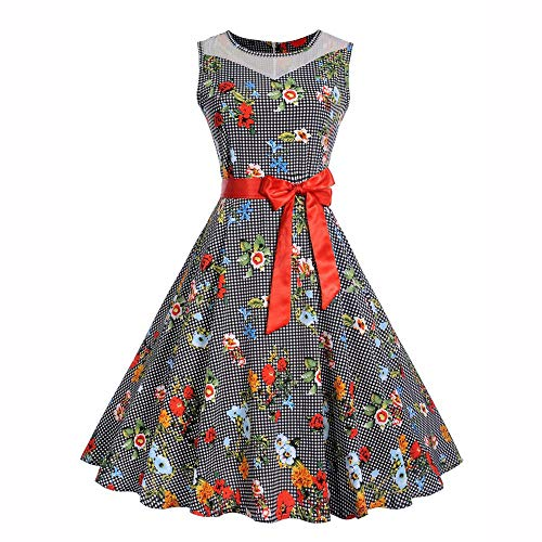 KPILP Women Sleeveless Floral Hepburn Vintage Swing High-Waist Pleated Dress Robe de Soirée Cocktail Vintage Rétro Anné(Rouge,L)