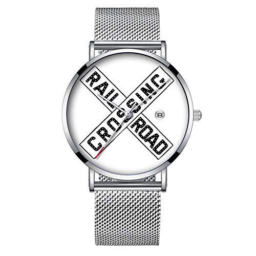 Minimalistische Fashion Quarz-Armbanduhr Elite Ultra Dünn Wasserdicht Sport Uhr mit Datum mit Netzband 409.Vintage Eisenbahn Kreuzung Zeichen Armbanduhr