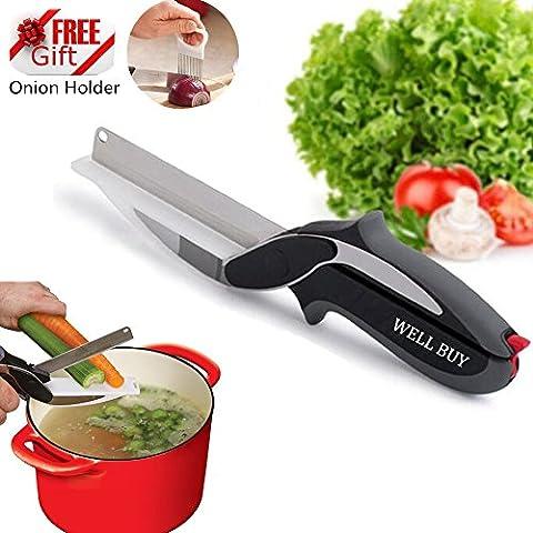 Well Buy Clever Ciseaux de cuisine / Coupe-légumes 2en 1, couteaux pour cuisiner, ustensile pour (Coltelli Da Cucina Utensili)