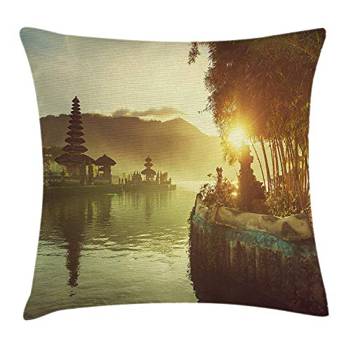 Bali Loveseat (JIEKEIO Landscape Throw Pillow Cushion Cover by, Pura Ulun Danu Temple Bali Indonesia Asian River Traditional Religious Landmark, Decorative Square Accent Pillow Case, 18 X 18 Inches, Yellow Green)