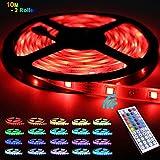 LED Streifen, LED Strip 10m,Soulcker RGB-Licht mit 5050 300 LEDs, Fernbedienung, IR-Empfänger, 12V DC-Netzteil, für Decke Bar Counter Cabinet Beleuchtung Dekoration