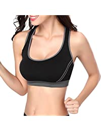 Mine Tom Mujer Sujetador Deportivo Push Up Bustier Con Amplio Correas Fitness Yoga Camisetas Sin Mangas