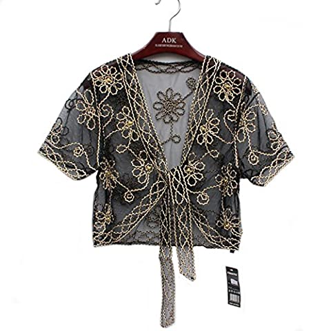 Women's Ladies Girls Short Sleeved Lace Mesh Gauze Crochet Knitted Embroidered Cropped Crop Bolero Shrug Waistcoat Cardigan Jacket Top Shawl Wrap Wedding Party Evening Prom Wear with Faux Pearls, One Size - up to UK 14 (Black with Gold
