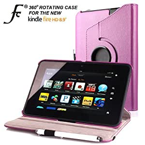 "ForeFront Cases® NEW KINDLE FIRE HD 8.9"" Leather Case Cover / Stand For New Amazon Kindle Fire HD 8.9"" WiFi 16GB + 32 GB with Magnetic Auto Sleep Wake Function - PURPLE (Case will only fit Kindle Fire HD 8.9"")"