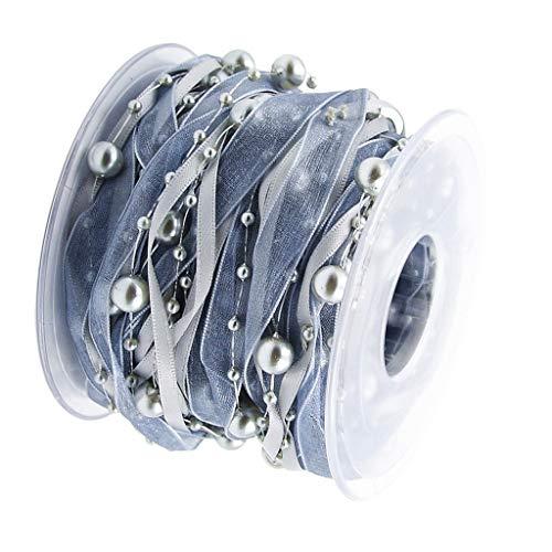 Baoblaze 10 Meter Perlen Spitzenband Dekoband Hochzeit Geschenkband Spitzenstoff Spitzenborte für Nähen - Grau, 10 Meters