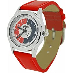Relda Time Teacher White Dial Quartz Kids Childrens Red PU Strap Watch REL11