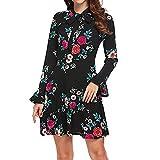 Geili Damen Herbst Elegant Langarm Schleife Kurz Blumenkleid Mode Rüschen Mini Strandkleid Partykleider Freizeit Alltag Kleider