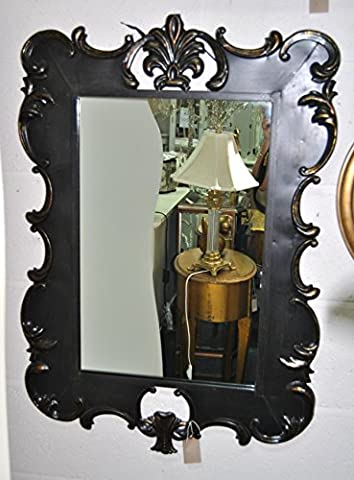 Wall Mirror - Black Rectangular Shabby Chic Metal Mirror With Scroll Fleur De Lys Detail And Gold Highlights