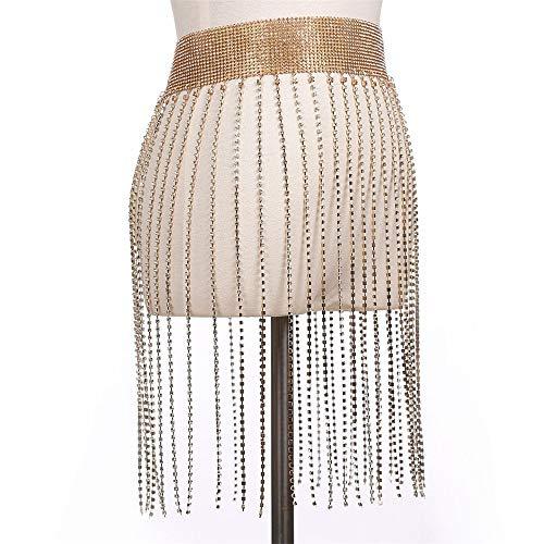Junjiagao Nachtclub Party Körper Kette Schmuck Bikini Taille Bauch Strand Harness Slave Halskette Frauen (Farbe : Gold, Größe : Free Size)