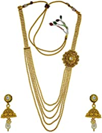 Anuradha Art Golden Finish Multiple Beaded Chain Styled With Long Necklace Set For Women