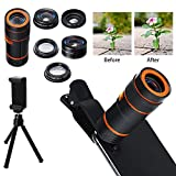 gaeruite Universal 6 in 1 Cell Phone Camera Lens Kit,12X Telephoto Zoom Lens 0.62X Wide Angle 235° Fish Eye CPL Lens Plus Phone Holder and Tripod for iPhone X 8 7 6 6s Android