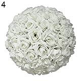 Yeshai3369 Künstliche Rose, Seide, echt aussehende Blumenkugel für Brautsträuße als Tischdekoration für Babyparty, Heimdekoration, 20,3 cm, 1 Stück weiß