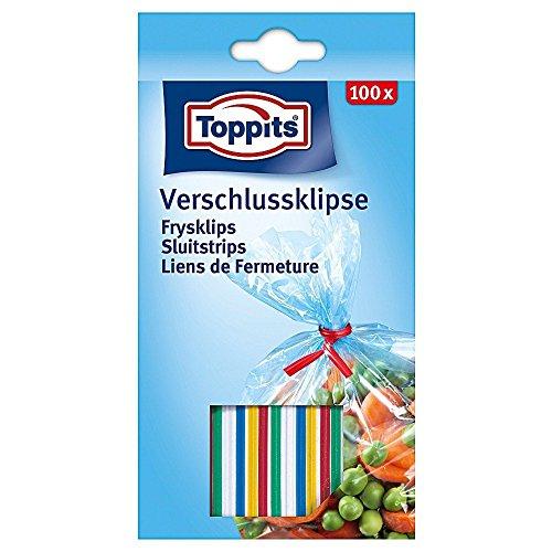 Toppits 100798 Verschluss-Clips, je 8 cm lang, mehrfarbig, 200-teilig (2 Sets à 100 Teile)