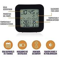 BestOnes Choice Termómetro higrómetro Digital Interior y Exterior. Termohigrómetro con Reloj. Estación meteorológica inalambrica con Sensor Exterior. Medidor de Temperatura y Humedad Digital