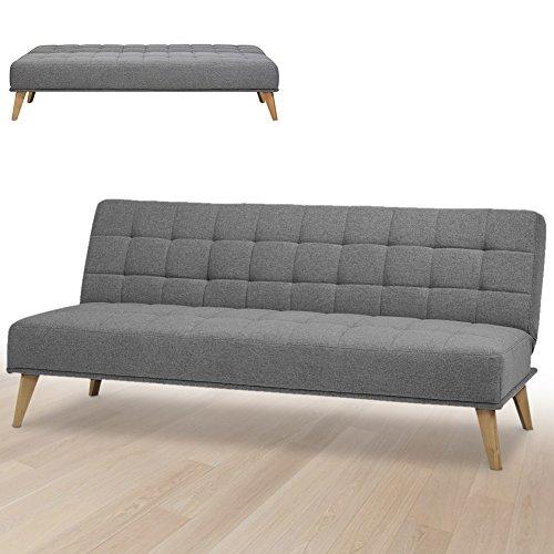 Bakaji divano letto clic clac 3 posti struttura in legno rivestimento in tessuto trapuntato imbottito piedini letto a scomparsa dimensione 180 x 86 x 81 cm (grigio scuro)