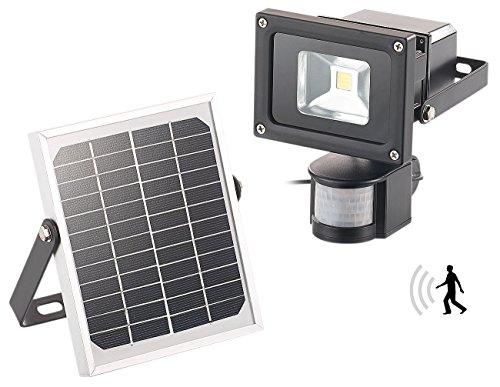 Luminea Solar Flutlicht: COB-LED-Solar Wandstrahler mit PIR-Bewegungssensor, 10 Watt, 600 Lumen (Solarfluter mit Bewegungsmelder)