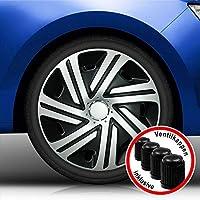 Eight Tec Handelsagentur (Größe und Farbe wählbar) Radzierblenden 15 Zoll – CYRKON (Schwarz-Silber) Bandel passend für Fast alle Fahrzeugtypen (universell)!