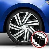 Eight Tec Handelsagentur (Größe und Farbe wählbar) Radzierblenden 16 Zoll – CYRKON (Schwarz-Silber) Bandel passend für Fast alle Fahrzeugtypen (universell)!