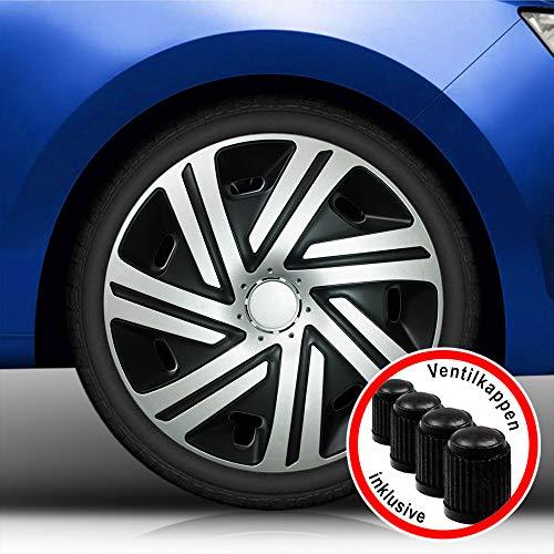 ntur (Größe und Farbe wählbar) Radzierblenden 15 Zoll - CYRKON (Schwarz-Silber) Bandel passend für Fast alle Fahrzeugtypen (universell)! ()