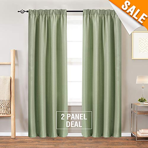 Lazzzy Rod Pocket Window Curtain Panels for Bedroom Waffle-Weave Textured Tier Curtains for Kitchen Water Repellent Bathroom Curtains 1 Pair 90 Inch, Olive (Rod Pocket Panel)