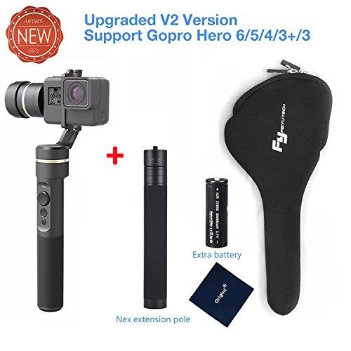 FeiyuTech G5(Neue Version) 3-Axis Handheld Gimbal Aktion Kamera Stabilisator IP67 Staub und Wasserdicht Entwurf für die GoPro Hero 5/4/3 für Yi Cam 4k für AEE und Aktion Kameras vergleichbarer Größe, inklusive extra Batterie und Verlängerungsstange