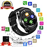Bluetooth Smartwatch, Wasserdicht Smart Watch Rund mit SIM Kartenslot Whatsapp Touchscreen, Intelligente Armbanduhr Sport Fitness Tracker Armband fur Android iphone ios Samsung Sony Huawei Damen Herren