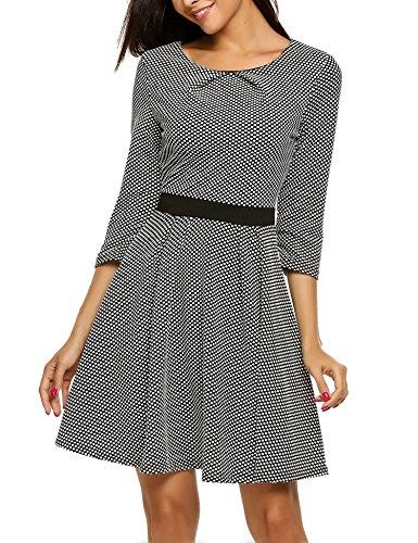Beyove Damen Jerseykleid Elegant Partykleid Freizeit Strickkleid 3/4 Arm Kneilang A-line kleid mit Polka Dots Schwarz L