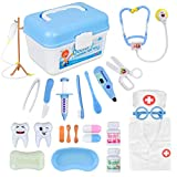 Doctor Kit, 24 Pack Kids Dentist Surgeon Vet Medical Kit with Light and Sound Including Electronic Stethoscope, Lab Coat Cap, Dr Pretend & Play Medical Equipment for Boys Girls Role Play /Xmas Gifts