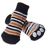 4er Set Hundesocken Haustier Hund Katze Pfotenschutz Rutschfeste Socken mit Anti-Rutsch-Noppen Beige/Blau/Braun/Gelb S/M/L/XL
