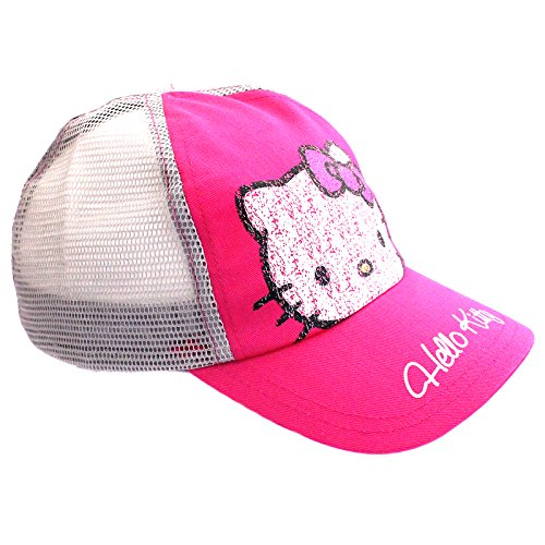 Girls Hello Kitty Trucker Baseball Cap Hat Age 4-8 Years Pink Grey