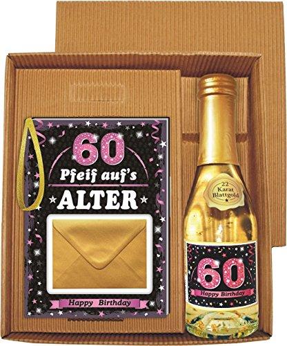Pfeif auf's Alter 60 im Geschenke Set für Frauen zum Geburtstag Geldgeschenk Umschlag mit Piccolo 22 Karat Blattgold gold pink lila schwarz (Pfeif aufs Alter pink 60 mit Piccolo 20218)