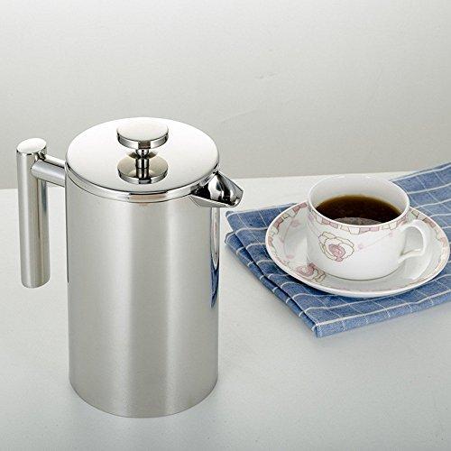 Haosen Kaffeebereiter mit Edelstahlfilter,Kaffee- und Teezubereiter,Kaffeekanne,French Press System mit Edelstahl Isolierung Doppelschicht design - 1000ml
