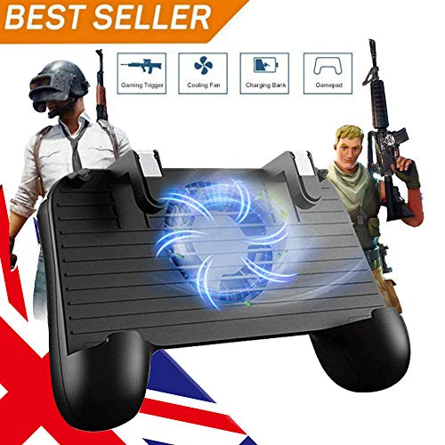 Mobile Game Controller für PUBG 5-in-1 Upgrade Version Gamepad Shoot and Aim Trigger Phone Cooling Pad Power Bank für Android & iOS Fortnite/Messer Out