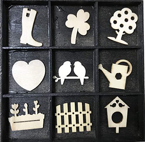 Craft Sensations décoratifs en bois miniature Figurines, dans le jardin, Lot de 36, 9 Designs