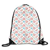 Jebnpse Printed Drawstring Backpacks Bags,Pastel Colored Hearts and Flowers Abstract Illustration of...