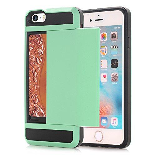 iPhone SE Hülle,EVERGREENBUYING [Slider Series] Abnehmbare Hybrid Schein iPhone 5E Tasche Ultra-dünne Schutzhülle TPU Fall Geschützt Cover für iPhone 5 / 5s / se Tadelloses Grün Tadelloses Grün