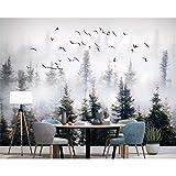 GMYANBZ Benutzerdefinierte Tapete Handgemalte Kiefer Forest Cloud Bird Wallpaper Hintergrund Wandbilder Wohnzimmer Schlafzimmer 3D Tapete
