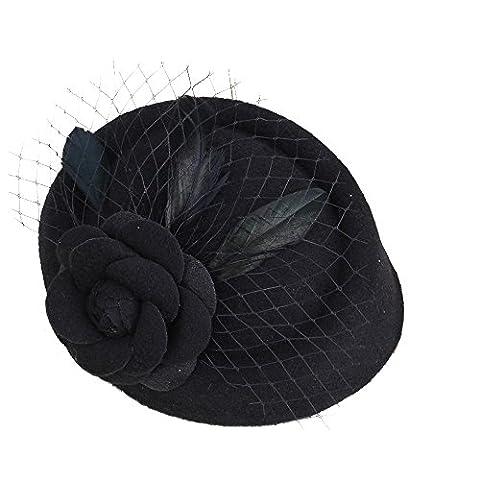 WEONE Clip Vintage Lady Bridal Top Hat fascinateur plume cheveux mariage Motif Accessoires Rose Fleur