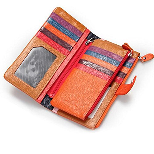DcSpring Portafoglio in Vera Pelle Porta carte di credito Lungo Portamonete Elegante Pochette Grande Capacità Cerniera per Donna (Arancia) Arancia