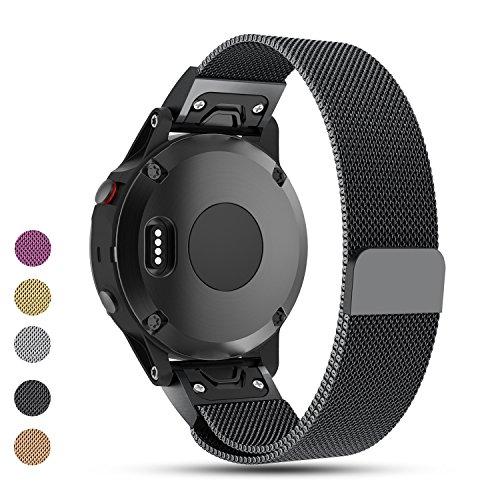 Garmin Fenix 5multisports montre GPS de remplacement Watchbands, Ifeeker Aimant Lock Milanaise Boucle Bracelet en acier inoxydable Bracelet Watch Band pour Garmin Fenix 5multisports montre GPS Taille unique noir
