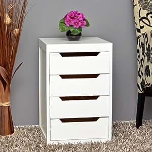 Mobiletto biancho con 4 cassettiere per il bagno cucina corridoio e camera da letto - Mobiletto cucina amazon ...