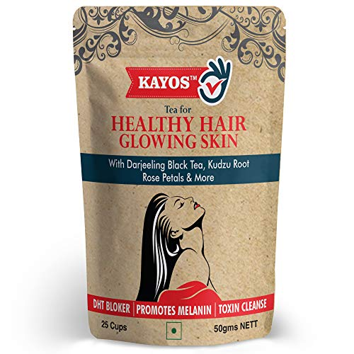 Kayos Tea for Healthy Hair Glowing Skin (with DHT Blocker) Detox Herbal Green Tea - 50gm