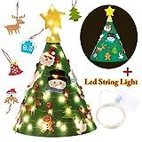 Feltro Albero Natale, OutgeekAlbero di Natale in feltro Fatto a mano feltro artigianale con 18 fili ornamenti luce stringa