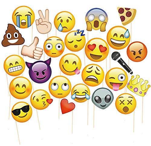 (MotGlobal 27 Stücke emoji Photo Props Fotorequisiten Fotoaccessoires für Hochzeit Geburtstag Party kreative Gegenstände)