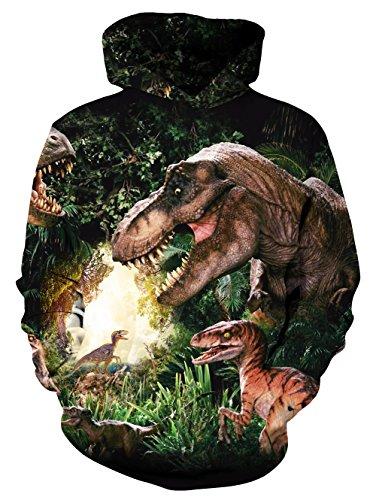 uideazone Unisex Teens Girls Boys 3D Drucken Froest Dinosaurier Langarm Pullover Hoodie Outwear grün XL (Sport Teen Girl)