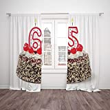 Thermal Insulated Blackout Window Curtain,65th Birthday Decorations,Burning Candles Number Sixty Five on Delicious Cake with Cherries,Multicolor,Living Room Bedroom Kitchen Cafe Window Drapes 2 Panel Amazon deals