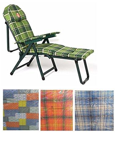 Metal Far Tahiti Ketty Chaise longue rembourrée avec rallonge et accoudoirs pour Intérieur ou Extérieur