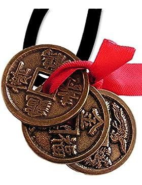 Feng Shui Glücksmünzen Amulett Anhänger mit Lederhalsband Schmucksäckchen und Karte - Reichtum, Wohlstand und...