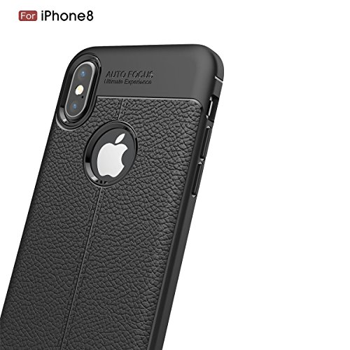 iPhone X Coque Ultra Mince Élégant Cuir Motif Flexible Soft TPU Bumper Housse Etui Assorbimento di Urti Resistente ai Graffi Assorbimento-Urto Renforcée Protective Smartphone Bumper Cover (Marine) Marine