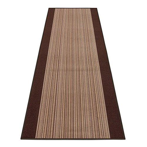BilligerLuxus Teppichläufer Teppich Läufer Brücke Carnaby Streifen braun 67cm Breite, Längen:180 cm